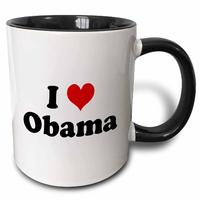 I Love Obama-Two Tone Black Mug from - 3dRose