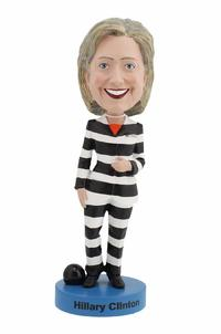 Hillary Clinton Striped Prison Pantsuit Bobblehead from - Bobbleheads.com