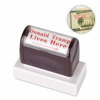 Donald Trump Lives Here Stamp Red Ink and Arrow from - Innissunny